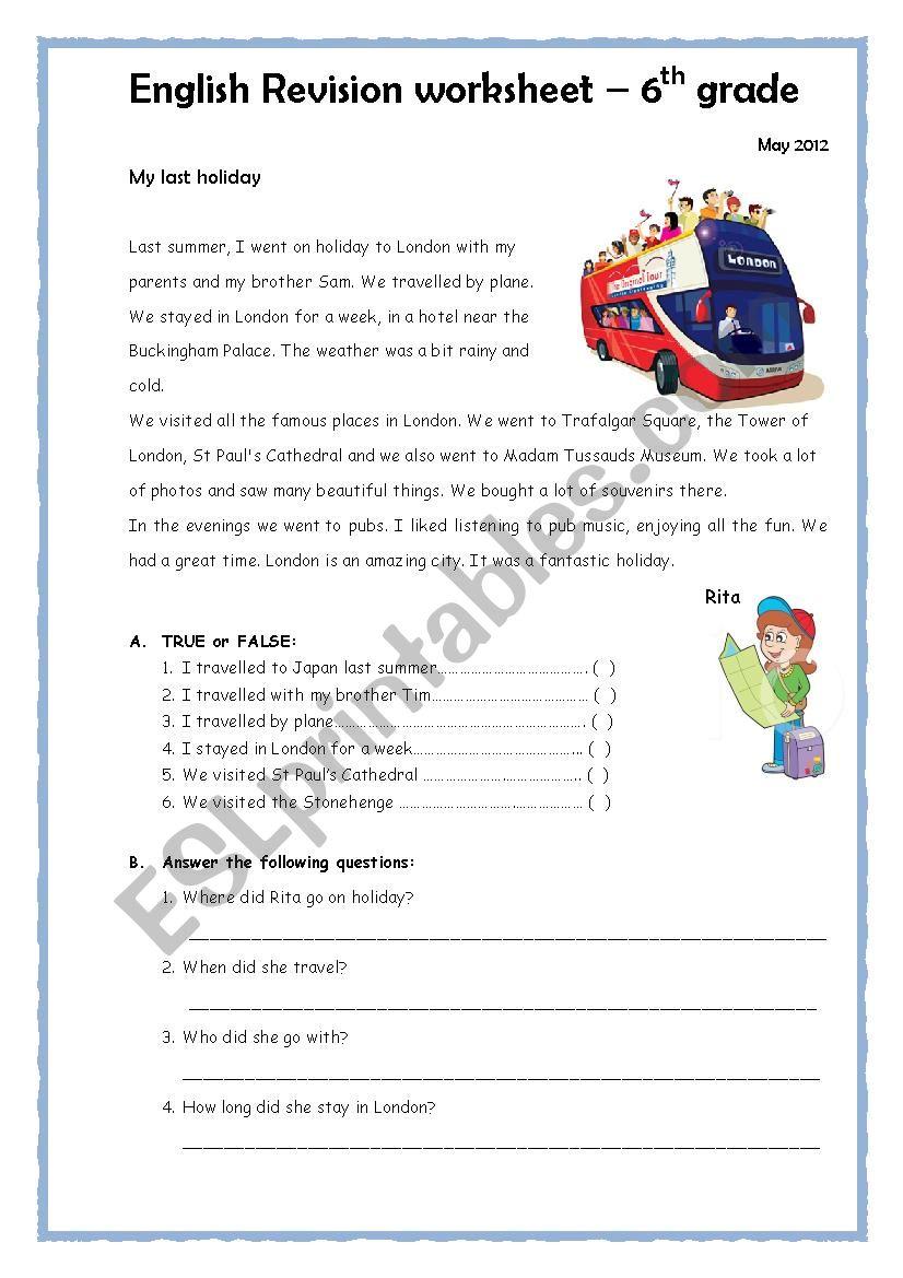 - Past Simple Worksheet 6th Grade - ESL Worksheet By Emartins