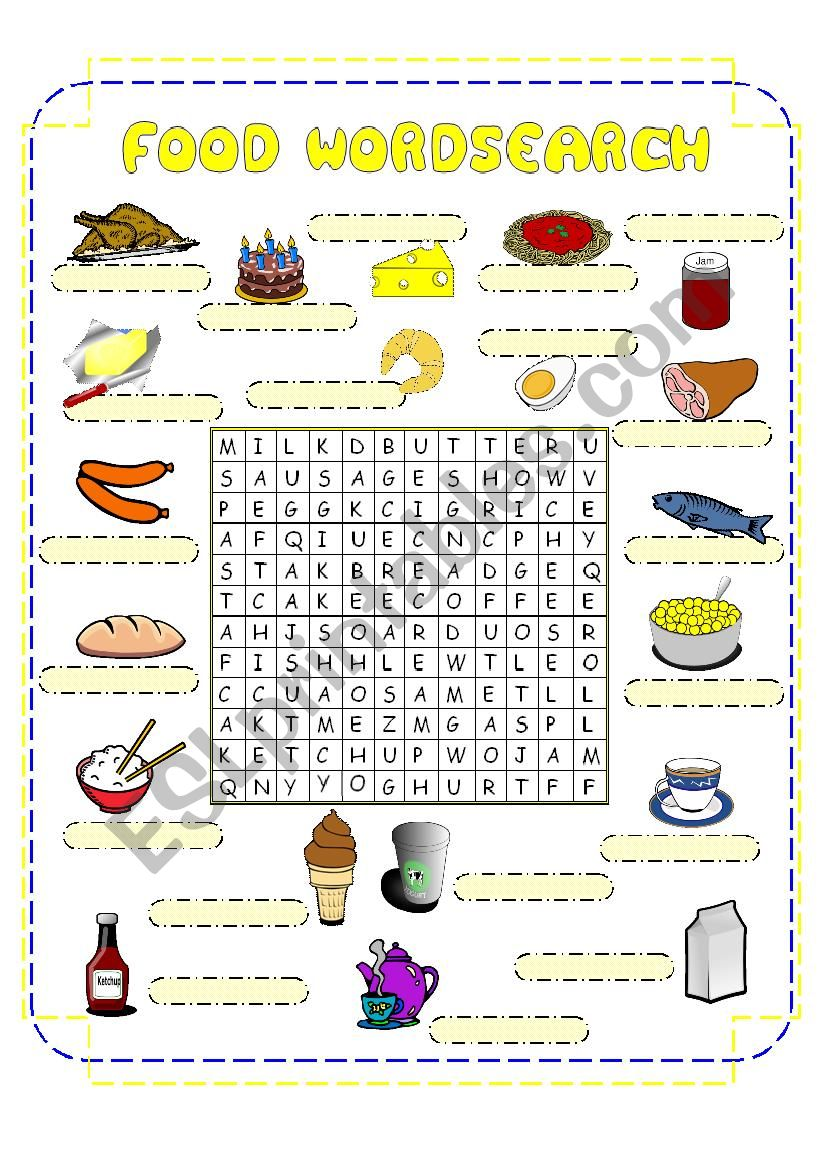 Food Crossword worksheet