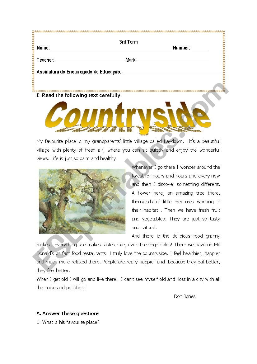 Countryside worksheet