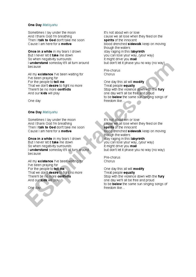 English worksheets: One day by Matisyahu (song)