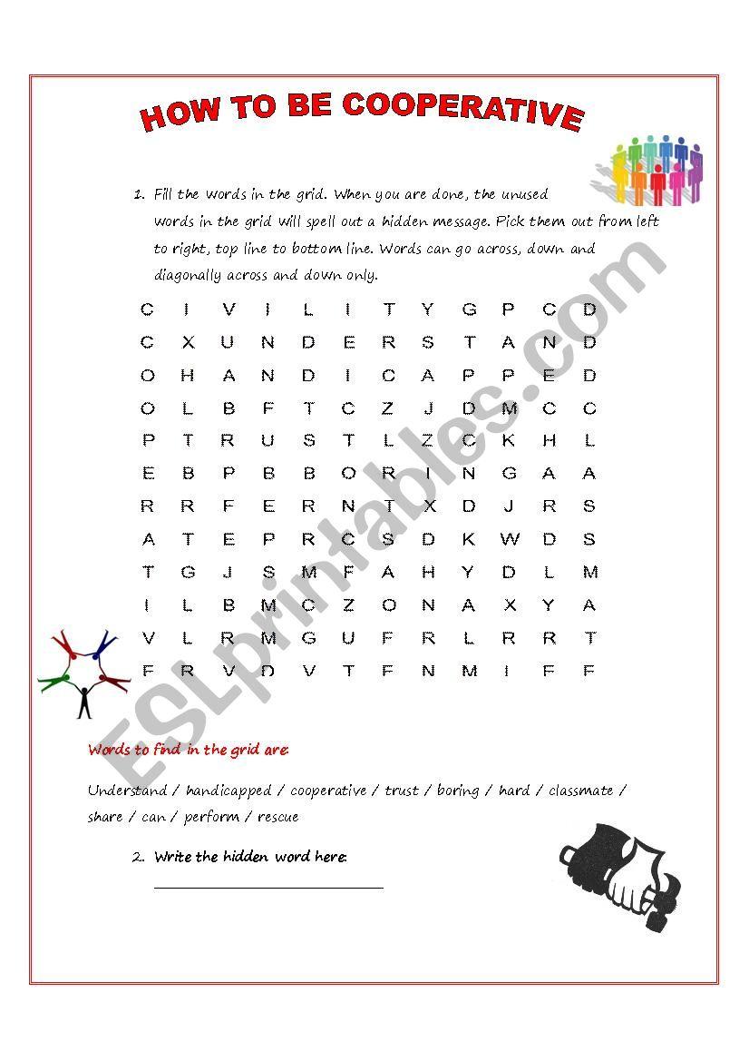 Word search game  worksheet