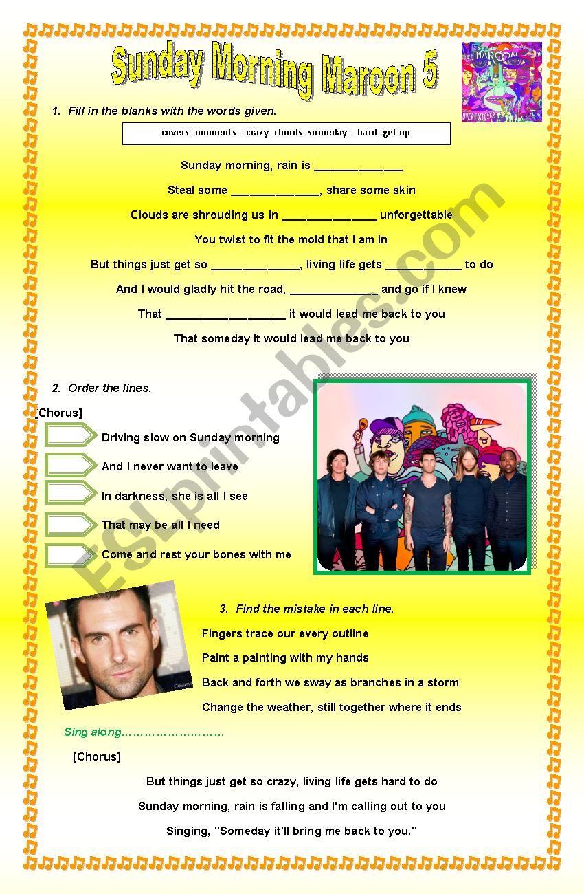 Sunday Morning- Maroon 5 worksheet