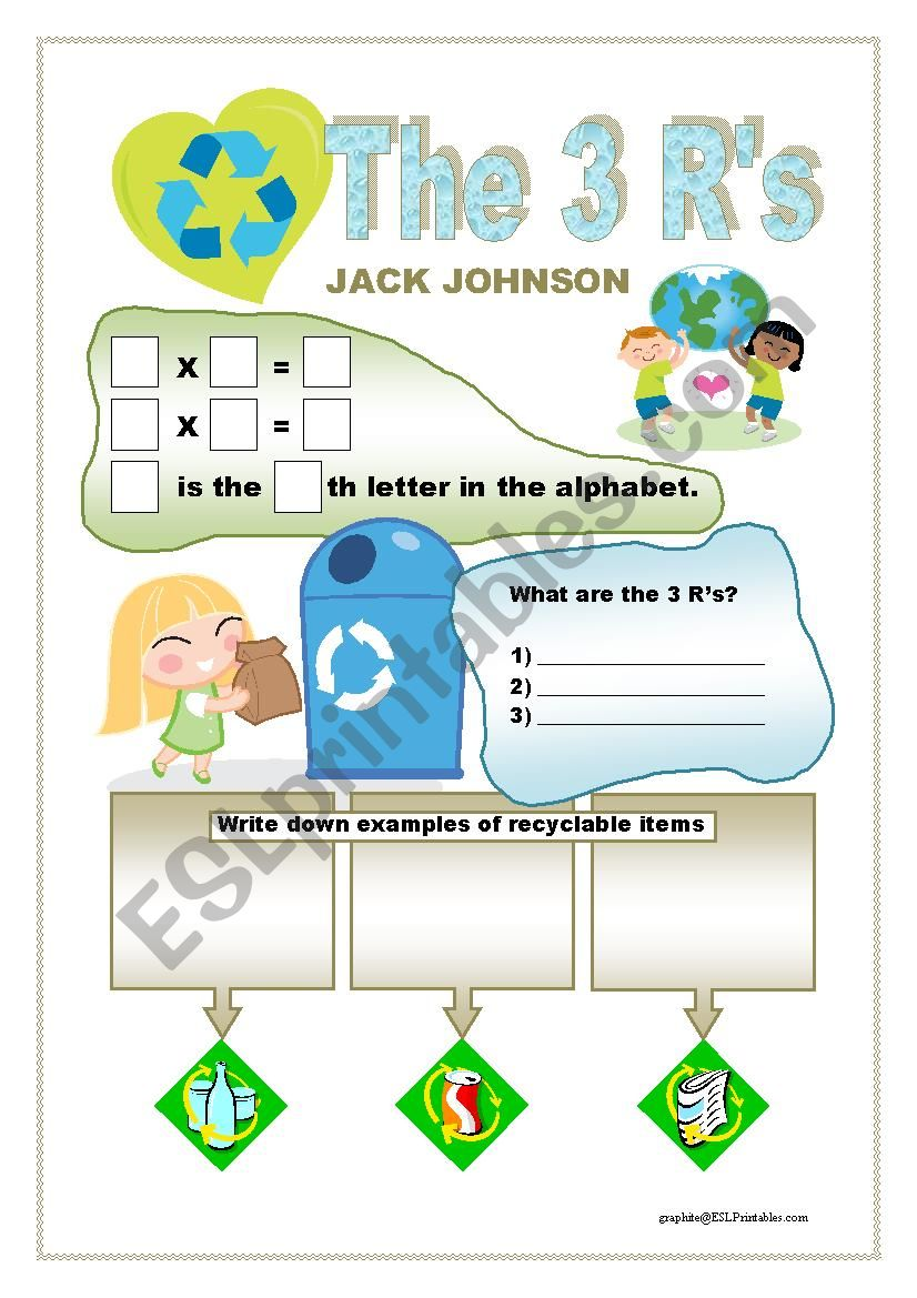 Jack Johnson - The 3 R´s worksheet
