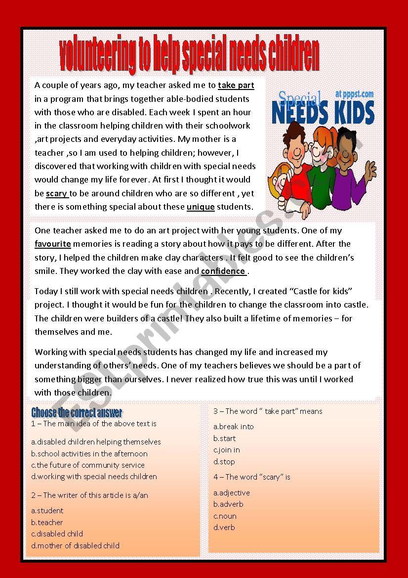 - Reading Comprehension (volunteering) - ESL Worksheet By Aaisha86
