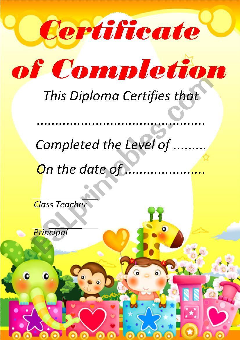 Certificate of Completion worksheet