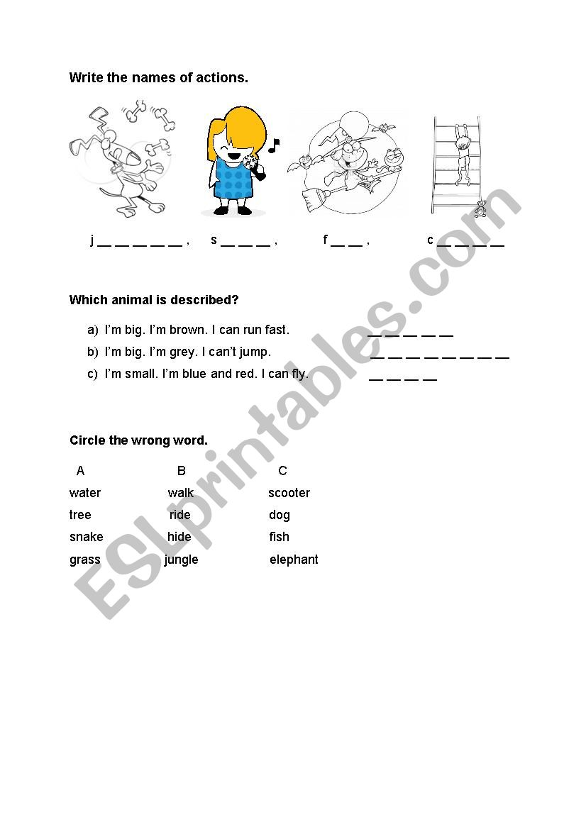Actions and animals worksheet