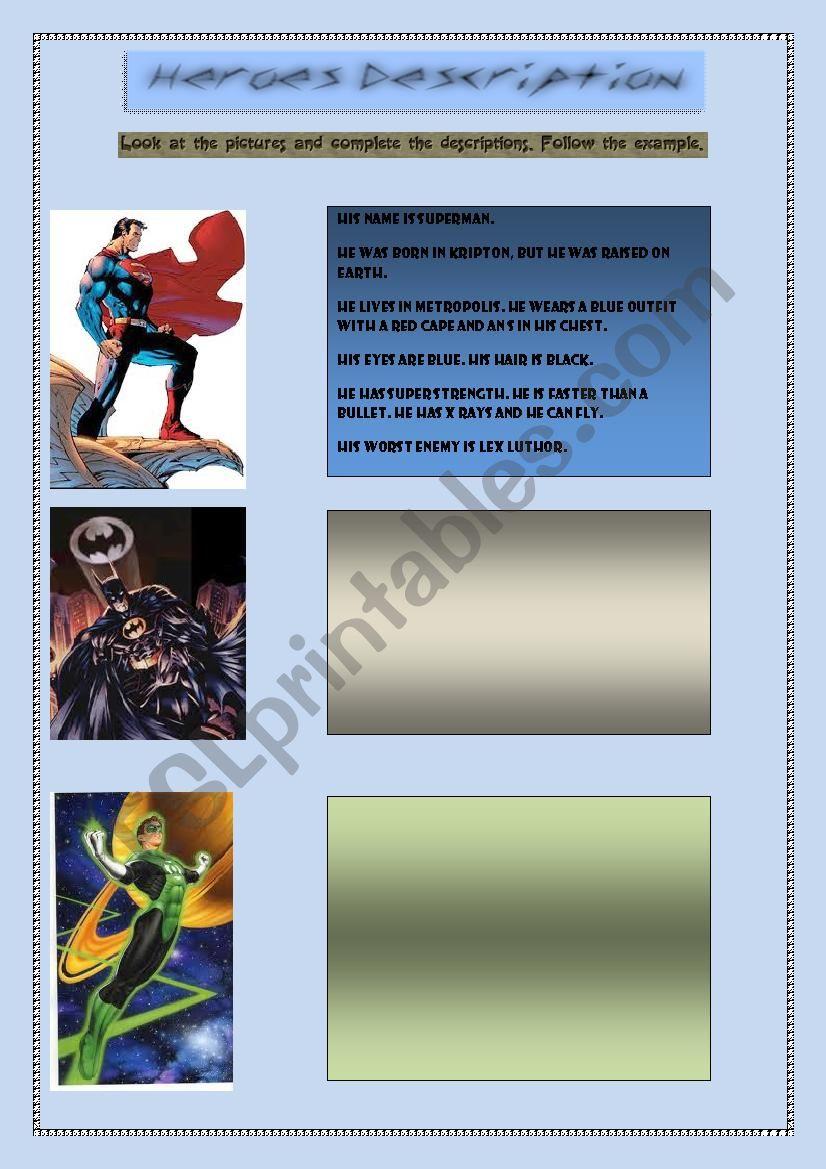 Heroes description worksheet