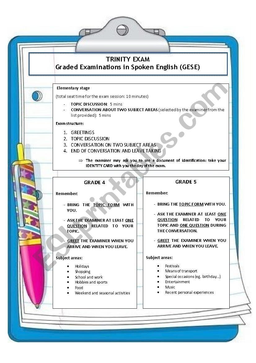 TRINITY EXAM (grades 4-5) worksheet