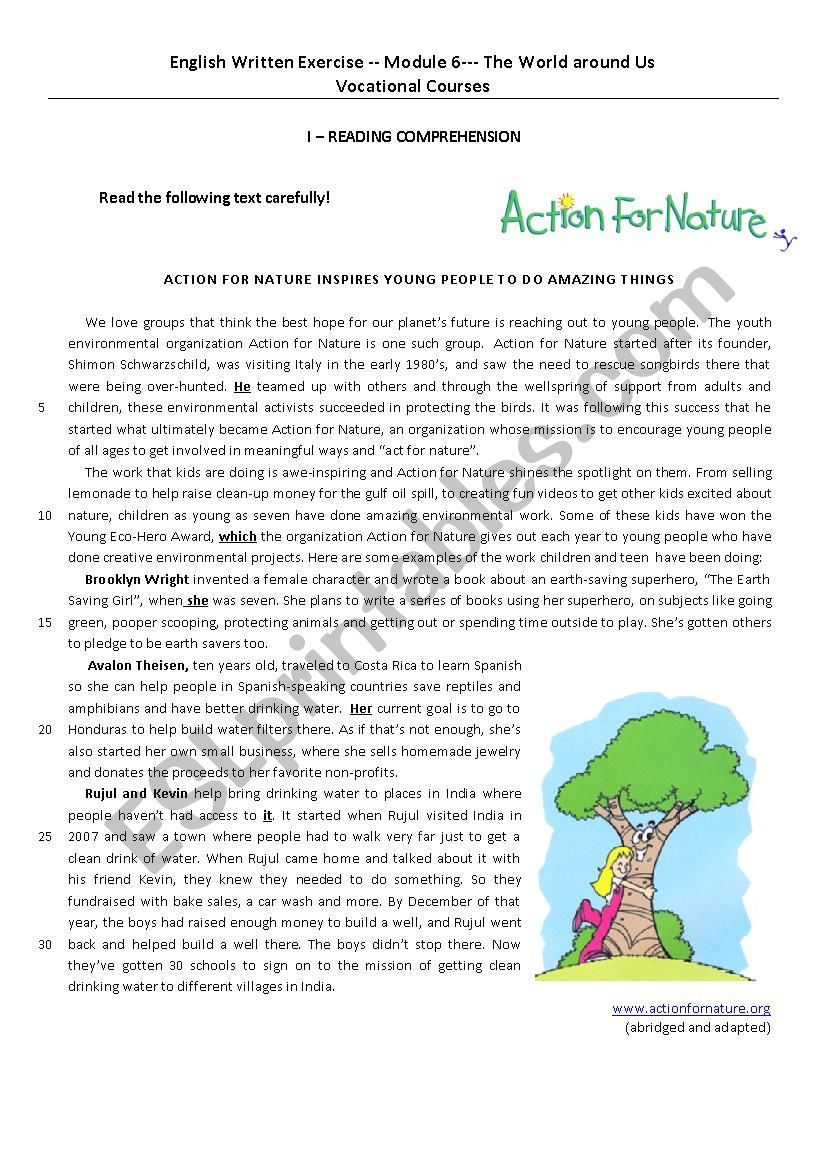 Eco-heroes worksheet