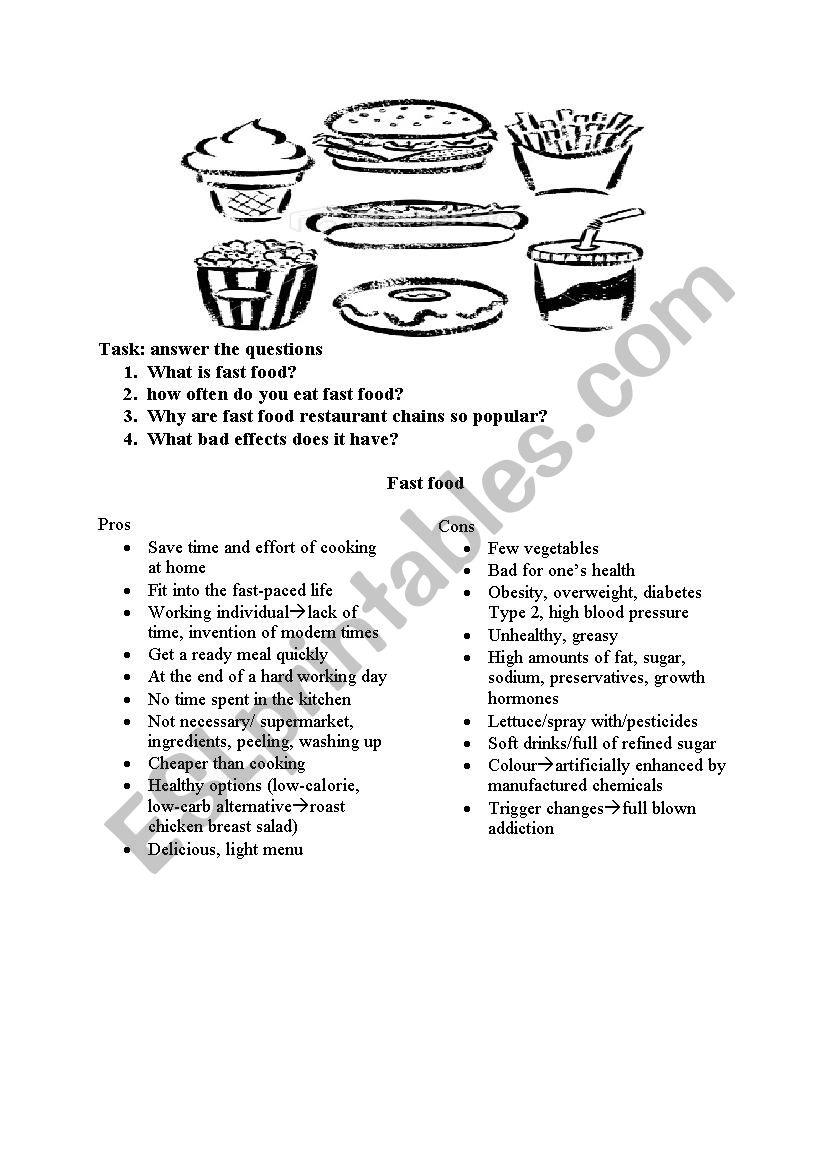 fast food - ESL worksheet by viag