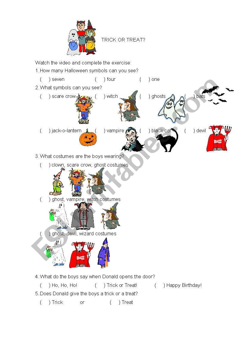 Trick or Treat? worksheet