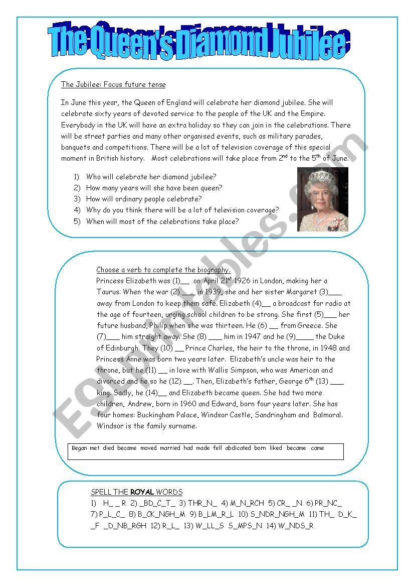 The Queen´s Diamond Jubilee worksheet