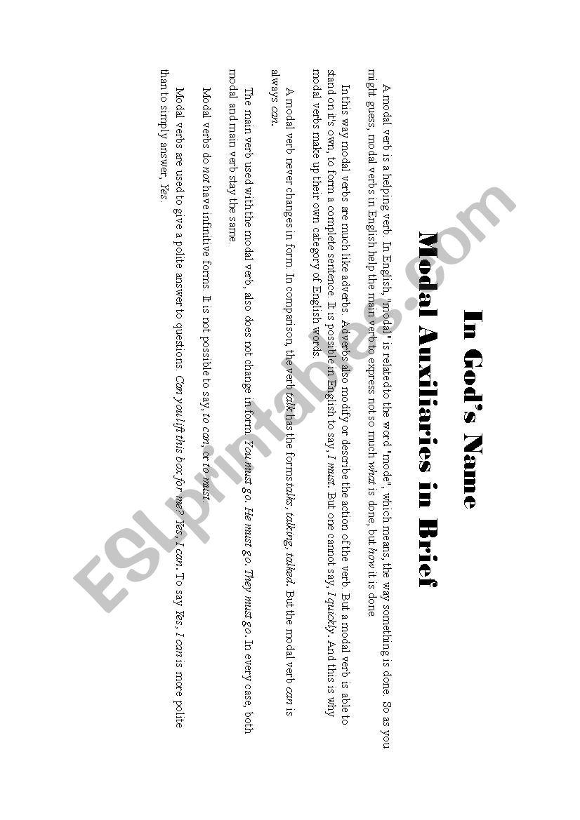 Modals in Brief worksheet