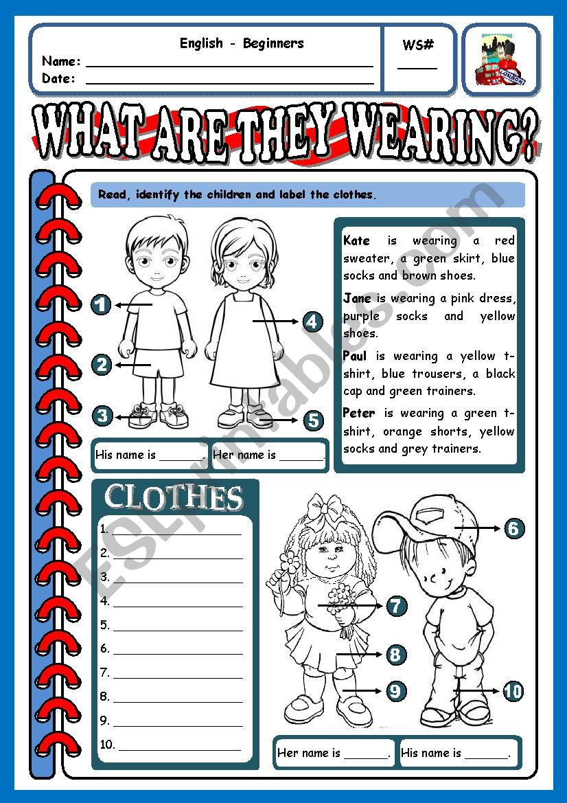 WHAT ARE THEY WEARING? - 2 worksheet