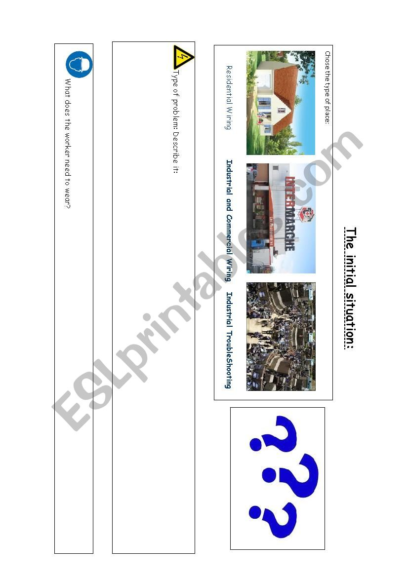 Electricity problem situation worksheet