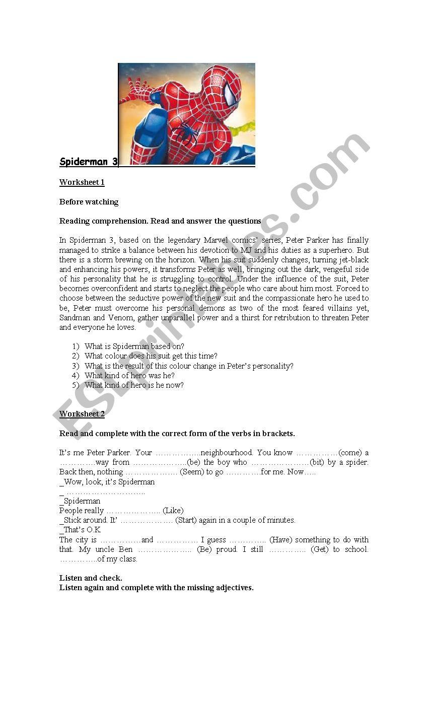 Spiderman 3 worksheet