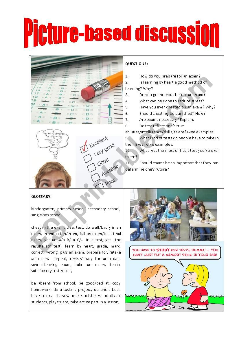 Picture-based discussion examination/exams