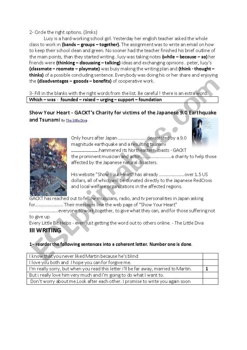 9th form Full term test 3 worksheet