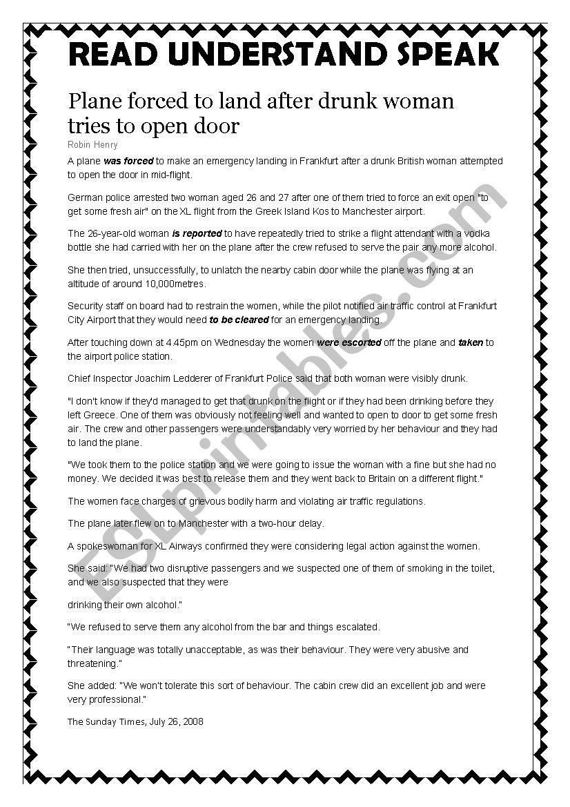 Passive written comprehension worksheet