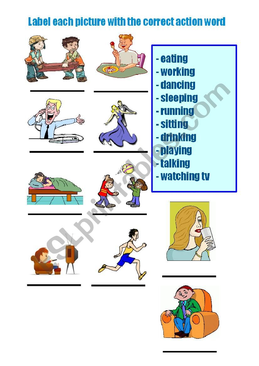 english worksheets  action words ending in