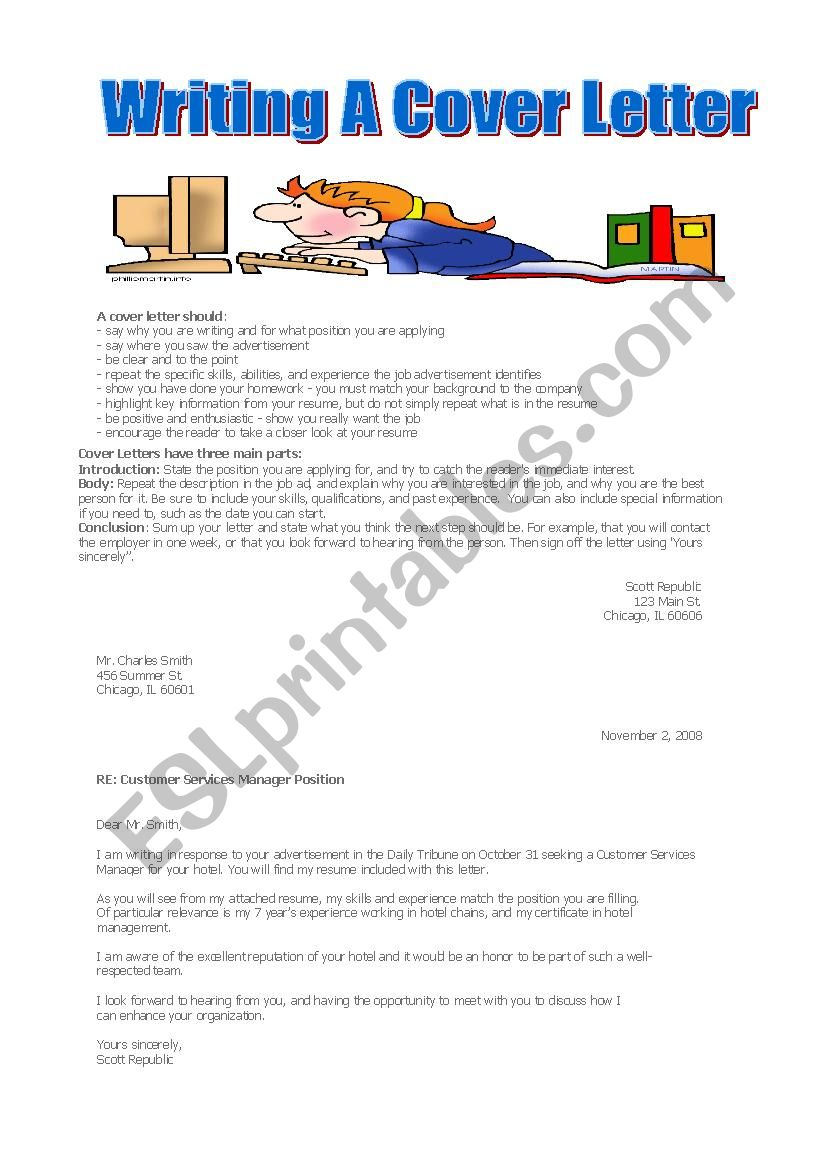 Writing A Cover Letter Esl Worksheet By American Teacher