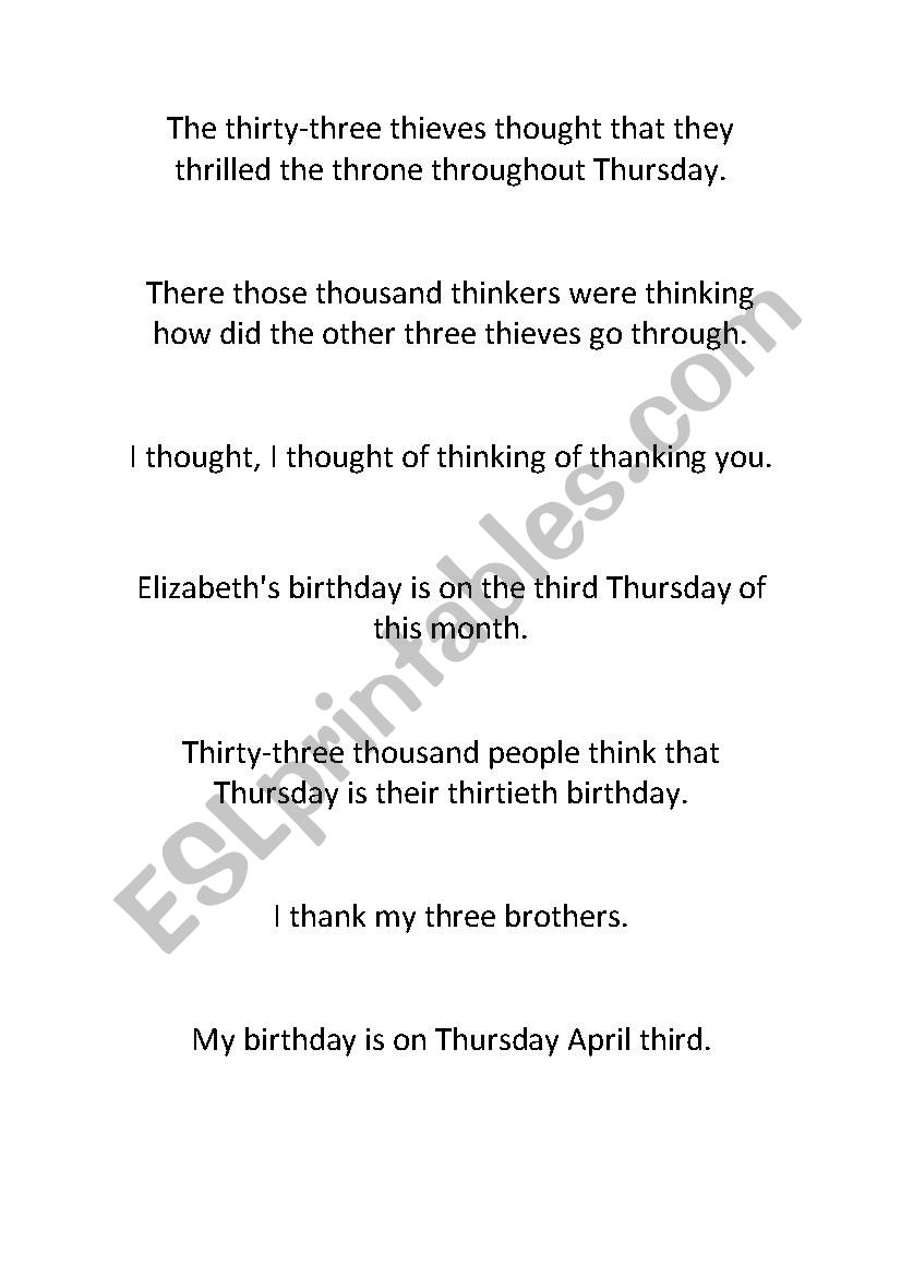 Tongue Twisters Th Sound Esl Worksheet By Claudiama