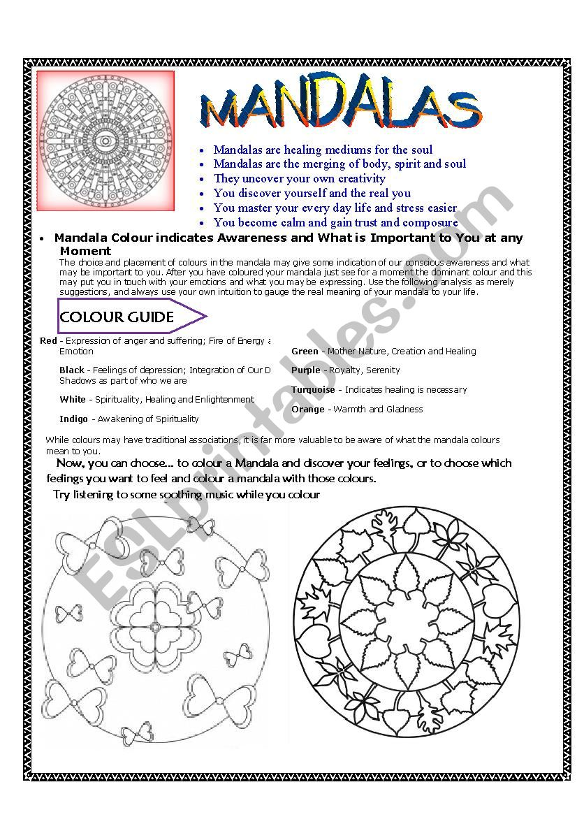Mandalas:  Meaning and colouring