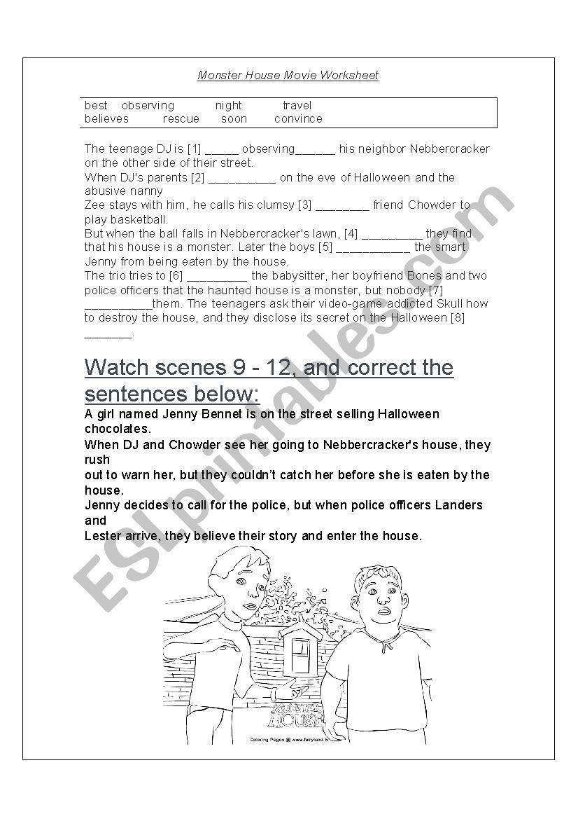 monter house worksheet worksheet