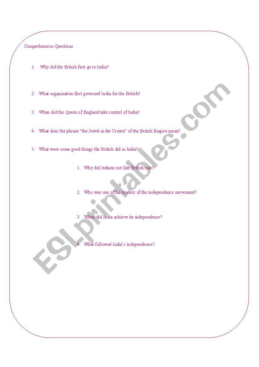 A Brief History of the British Raj - ESL worksheet by bonniejeanne