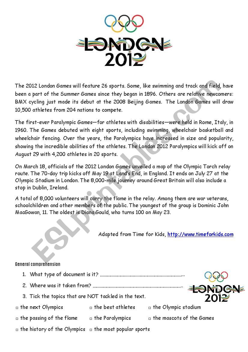 The London Olympic Games worksheet