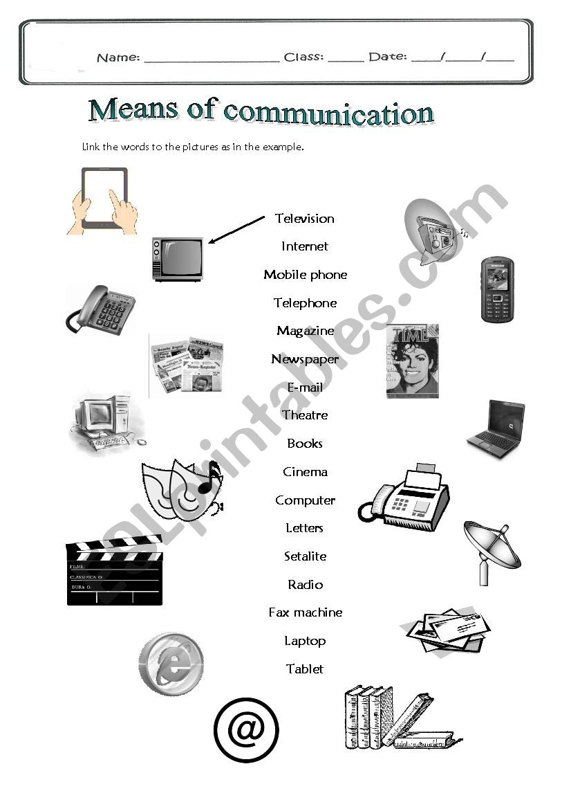 Means Of Communication Esl Worksheet By Lioness30