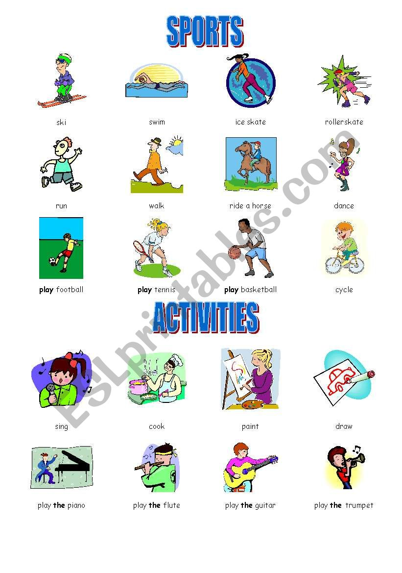 sports and activities vocabulary esl worksheet by marshmallow f. Black Bedroom Furniture Sets. Home Design Ideas