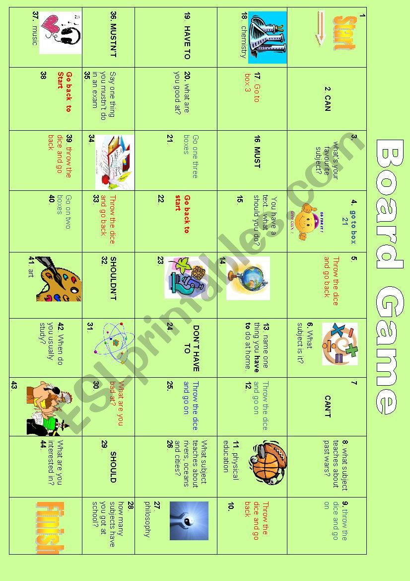 board game: modals, school subjects