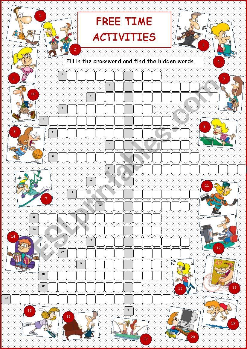 Free Time Activities (Crossword)
