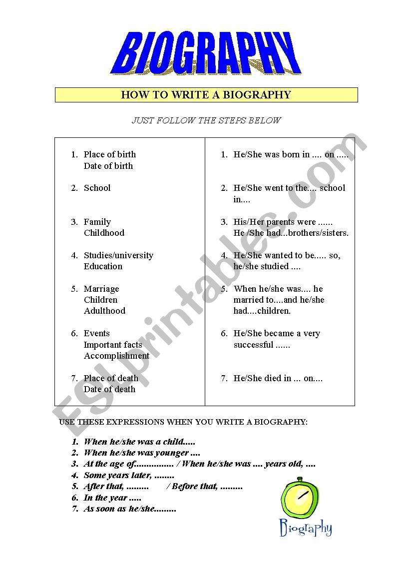 How to write a biography worksheet