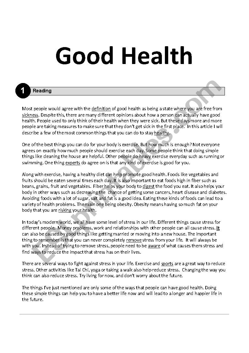 Good Health worksheet