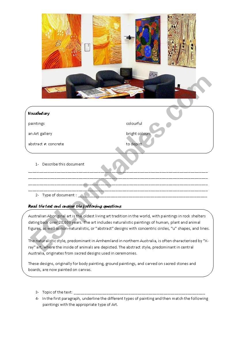 Australia Aboriginal Art Esl Worksheet By Flo England