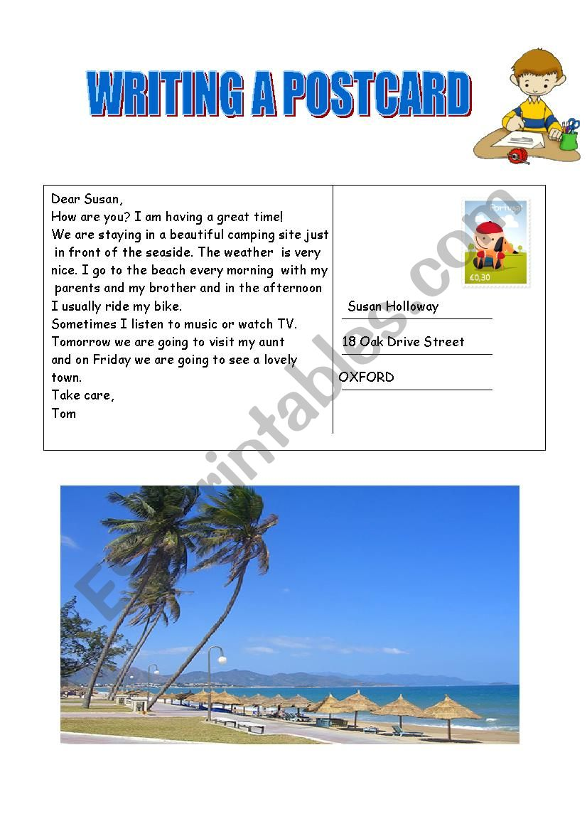 Writing a postcard worksheet