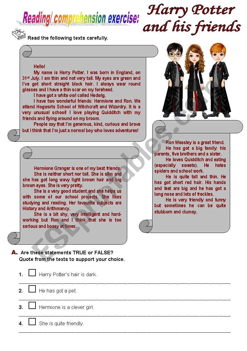 Harry Potter and his friends worksheet