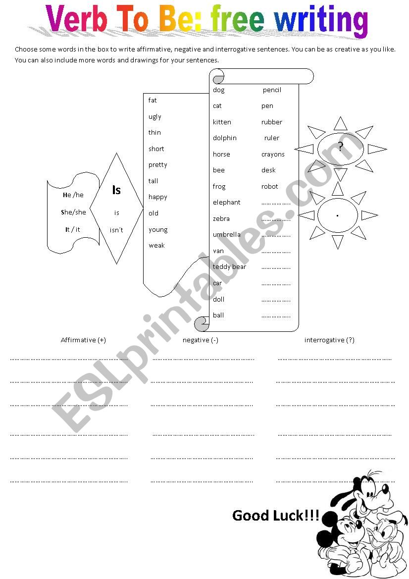 English Worksheets Verb To Be Affirmative Negative And