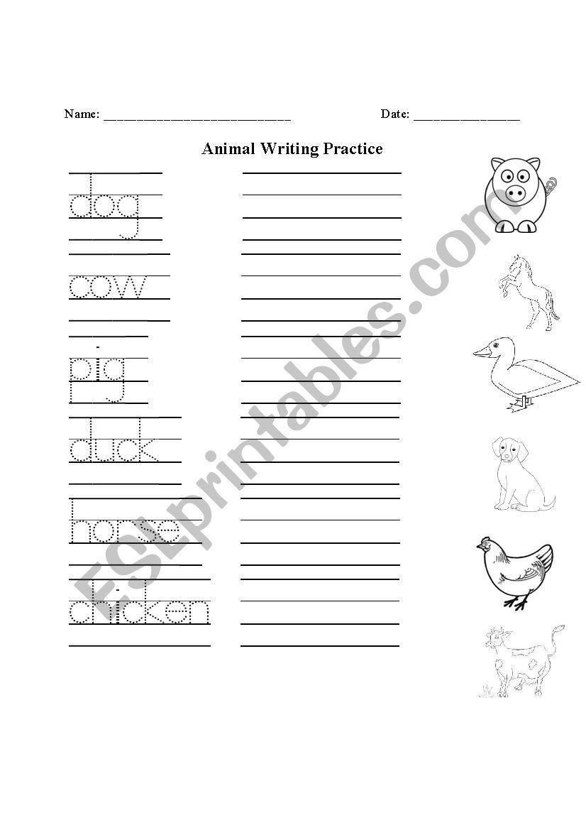 farm animal handwriting practice and matching esl worksheet by woodsidej1. Black Bedroom Furniture Sets. Home Design Ideas