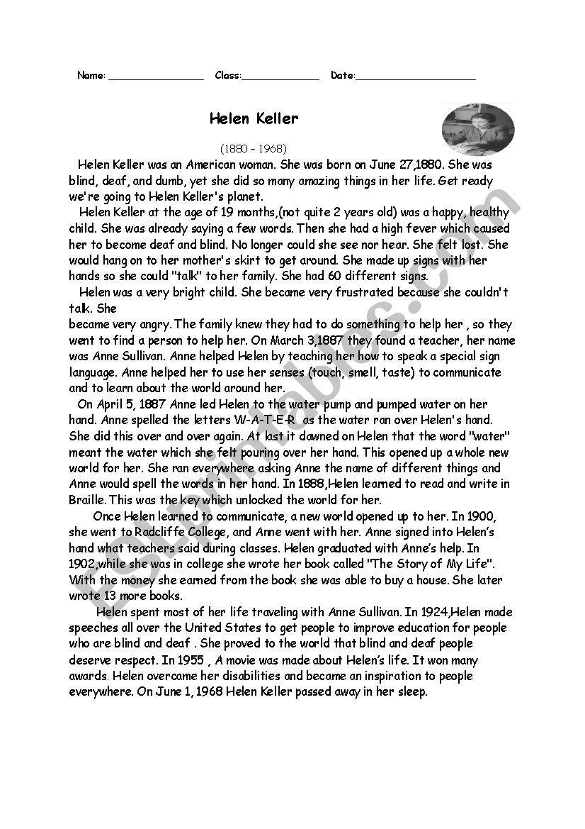 Worksheets Helen Keller Worksheets biography of helen keller esl worksheet by anisa worksheet