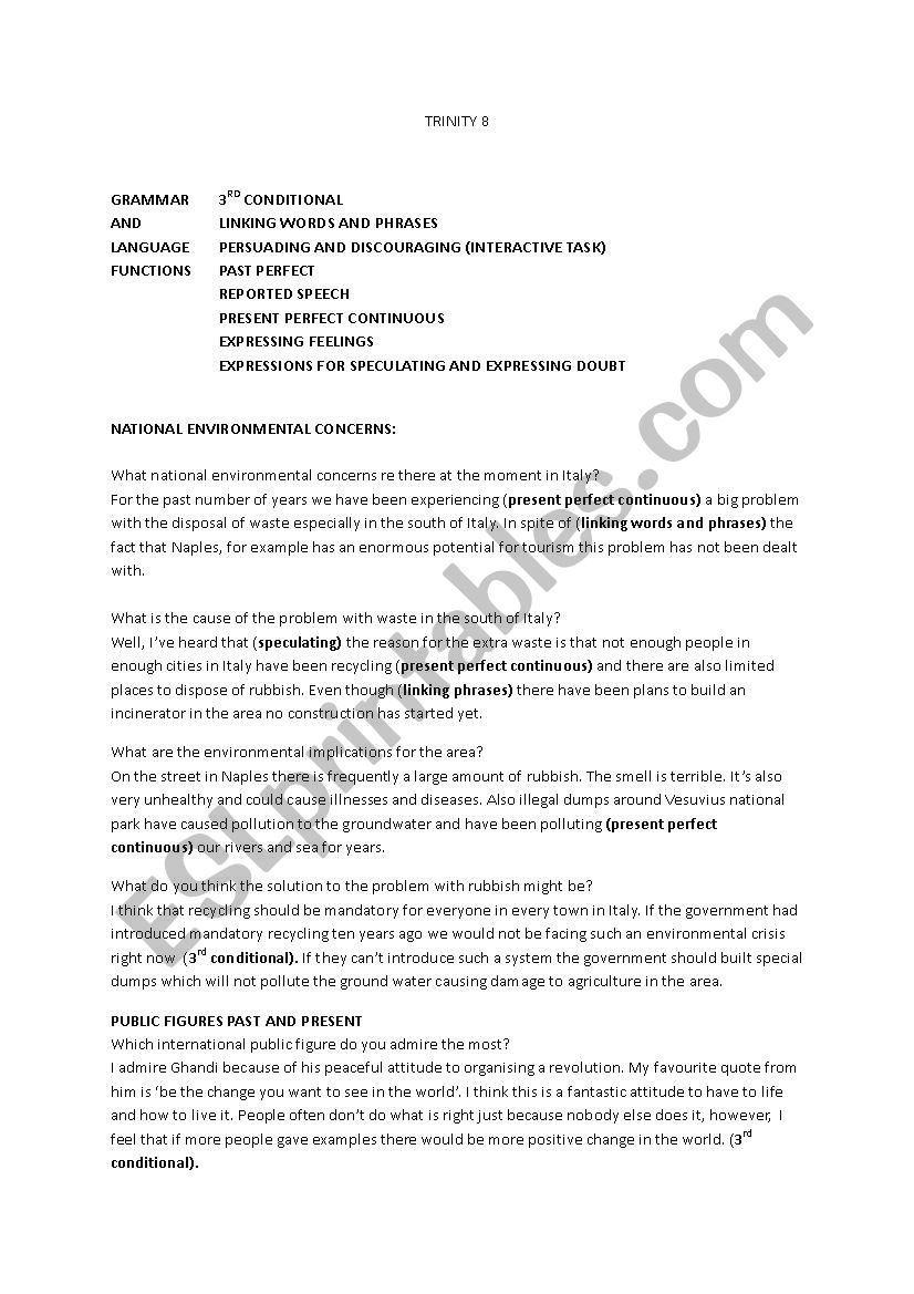 - Trinity Grade 8 Questions And Answers - ESL Worksheet By Irishina