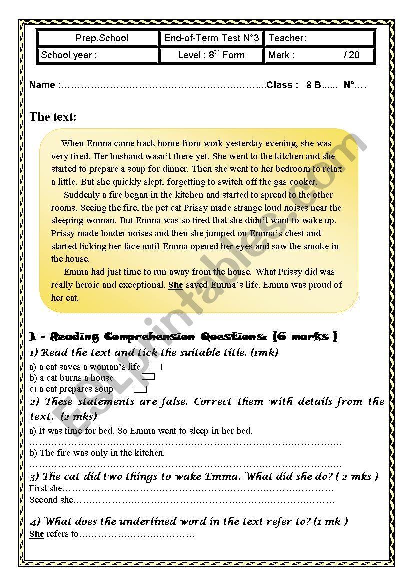 End-Of-Term Test N°3 8th Form worksheet