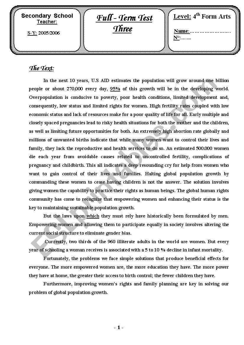 Bac Blanc2006 worksheet