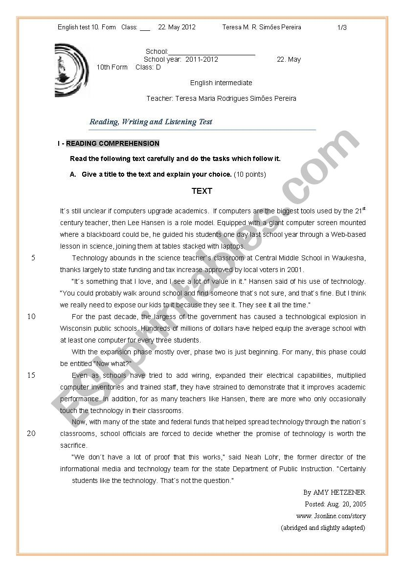 10 th form English test worksheet
