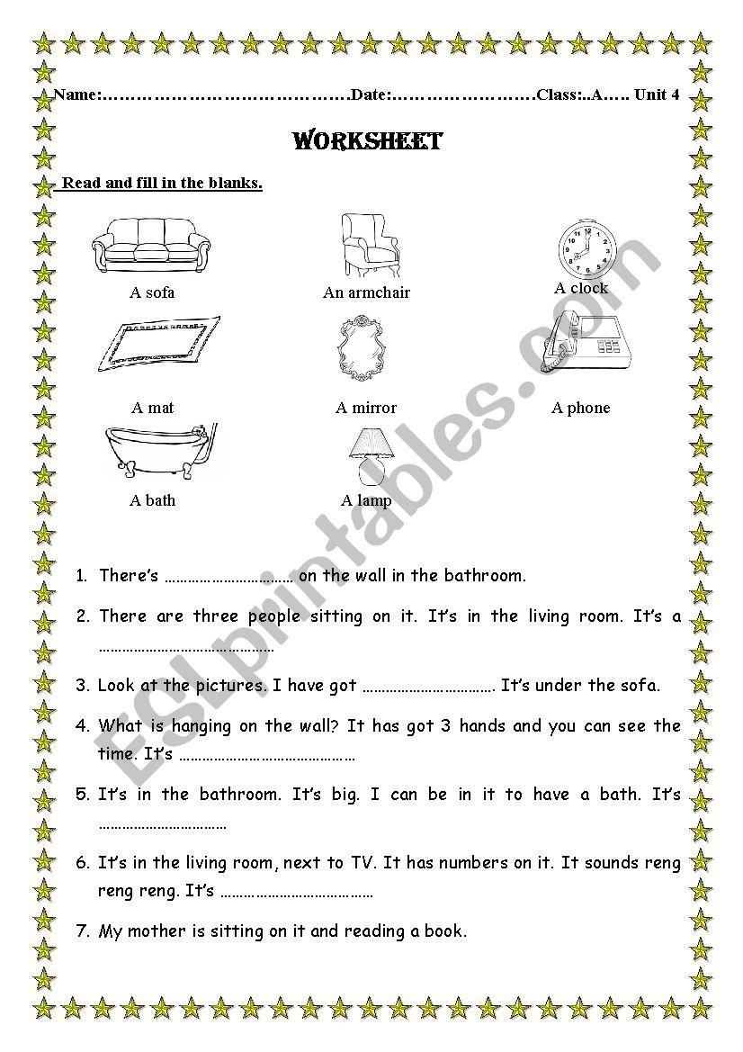 things in a house worksheet