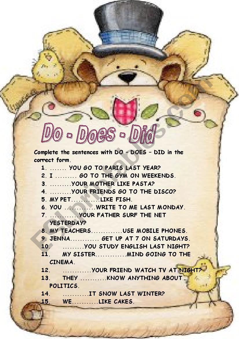 Auxiliaries: DO - DOES - DID worksheet