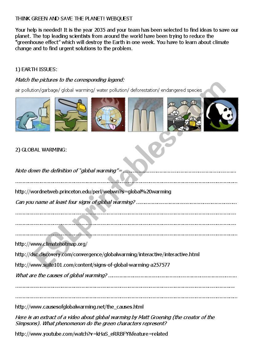 Save the planet webquest worksheet