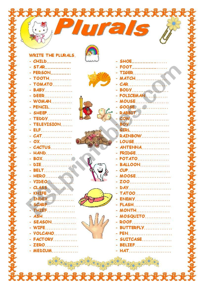 REGULAR AND IRREGULAR PLURALS worksheet
